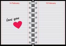 Cuaderno con amor usted texto ilustración del vector