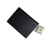Cuaderno con cientos billetes de dólar Fotografía de archivo