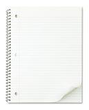 Cuaderno con el enrollamiento agradable de la paginación aislado en blanco fotografía de archivo libre de regalías