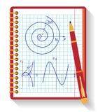 Cuaderno con el gráfico de la función matemática del vector Fotos de archivo libres de regalías
