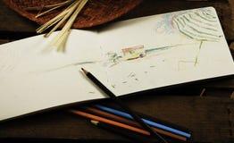 Cuaderno con el lápiz imagen de archivo libre de regalías