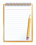 Cuaderno con el lápiz Imágenes de archivo libres de regalías