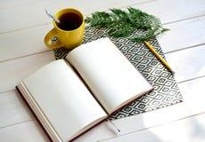Cuaderno con el lápiz amarillo y helecho en el fondo blanco fotografía de archivo libre de regalías
