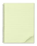Cuaderno con el papel reciclado amarillo típico Fotografía de archivo