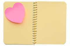 Cuaderno con el post-it Imagen de archivo libre de regalías
