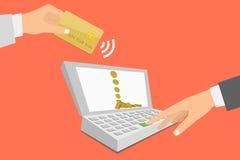 Cuaderno con el proceso de pagos móviles de la tarjeta de crédito Foto de archivo