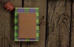 Cuaderno con la muñeca del cerdo Fotos de archivo libres de regalías