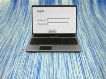 Cuaderno con la pantalla de la conexión a la comunicación Imagen de archivo