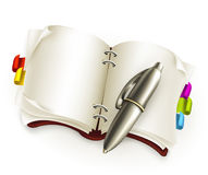 Cuaderno con la pluma libre illustration