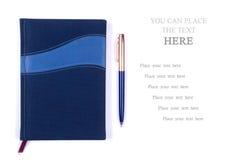 Cuaderno con la pluma Foto de archivo libre de regalías