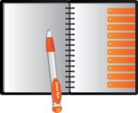 Cuaderno con las direcciones de la Internet y la pluma anaranjadas de los fogoneros Foto de archivo libre de regalías