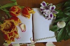 Cuaderno con los pétalos color de rosa y las flores Fotografía de archivo libre de regalías
