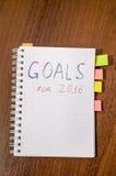 Cuaderno con metas del texto del año 2016 Imagen de archivo libre de regalías
