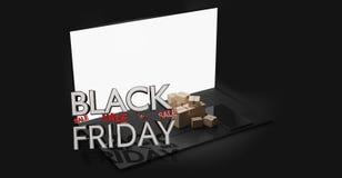 Cuaderno de Black Friday con el concepto que hace compras en línea 3d-illustration de los paquetes stock de ilustración