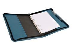 Cuaderno de cuero azul imagenes de archivo