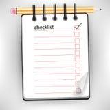 Cuaderno de la lista de comprobación Foto de archivo