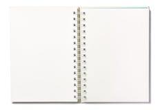 Cuaderno de la página en blanco en el fondo blanco fotografía de archivo libre de regalías