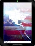 Cuaderno de la PC de la tablilla de los E.E.U.U. Fotos de archivo libres de regalías