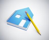 Cuaderno de notas formado casa Fotografía de archivo