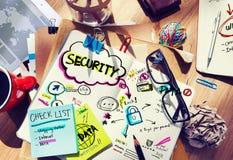 Cuaderno de notas y concepto de la seguridad Foto de archivo