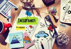 Cuaderno de notas y concepto del seguro Fotografía de archivo