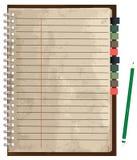 Cuaderno de papel viejo del vector Foto de archivo libre de regalías