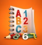 Cuaderno del alfabeto Fotos de archivo