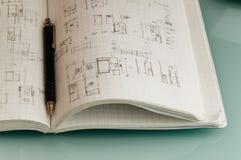 Cuaderno del arquitecto Foto de archivo