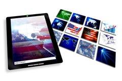 Cuaderno e Internet de la tablilla Imagen de archivo libre de regalías