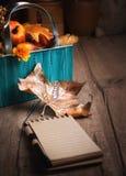 Cuaderno en blanco en la tabla de madera con las decoraciones del otoño Imagenes de archivo