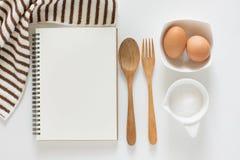 Cuaderno en blanco para las recetas Fotografía de archivo