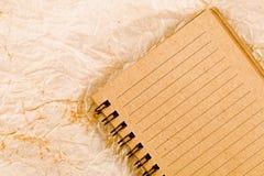 Cuaderno en el papel del granero Fotografía de archivo libre de regalías