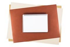 Cuaderno en el papel texturizado Fotografía de archivo