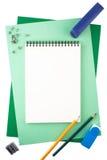 Cuaderno en las hojas del papel texturizado que imita un marco Imágenes de archivo libres de regalías