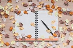 Cuaderno espiral con las hojas de arce en el fondo de madera Fotografía de archivo