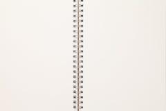 Cuaderno espiral en blanco Foto de archivo