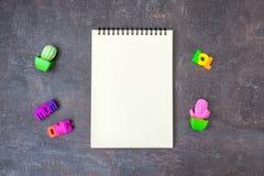 Cuaderno fresco del espacio en blanco de la maqueta de la juventud del inconformista con los cactus del juguete y w foto de archivo libre de regalías