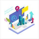 Cuaderno isométrico con los elementos infographic stock de ilustración