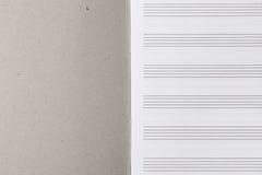Cuaderno musical con los bastones Fotos de archivo