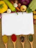Cuaderno para las recetas Imagen de archivo libre de regalías