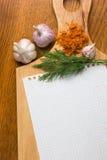 Cuaderno para las recetas culinarias Imagenes de archivo