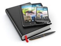 Cuaderno, PC de la tableta y teléfono móvil Fotos de archivo libres de regalías