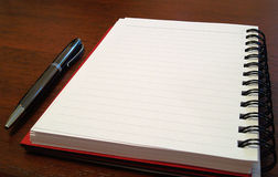 Cuaderno plano con pen2 Fotografía de archivo