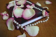 Cuaderno rojo con los pétalos color de rosa Fotos de archivo libres de regalías