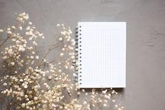 Cuaderno vacío y flor seca en fondo gris Copie el espacio imagen de archivo