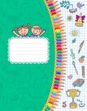 Cuaderno verde de la escuela de la cubierta en jaula Fotografía de archivo