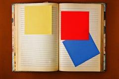 Cuaderno viejo con diseño manchado de las páginas Foto de archivo libre de regalías