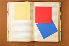 Cuaderno viejo con las paginaciones manchadas imagen de archivo libre de regalías