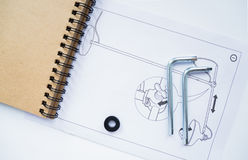Cuaderno y detalles de los muebles Fotografía de archivo libre de regalías