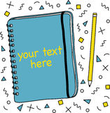 Cuaderno y lápiz, fondo del modelo de la geometría Imagen de archivo libre de regalías